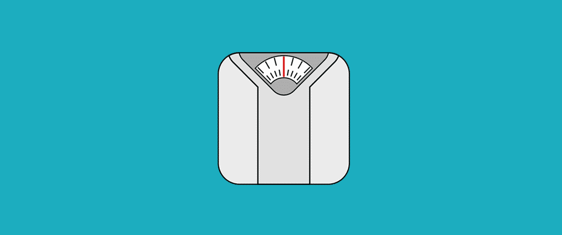 icon of a scale on blue background