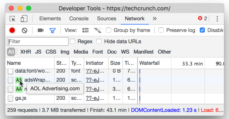Hovering over a third-party script in Chrome DevTools