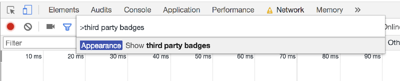 Use the 'third party badges' tag to highlight external requests