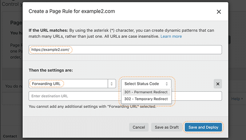 Cloudflare Page Rules settings panel