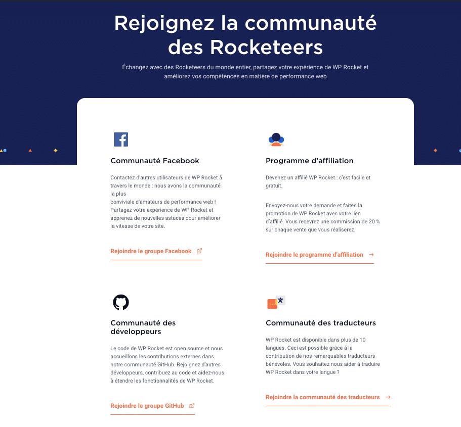 La nouvelle page Communauté