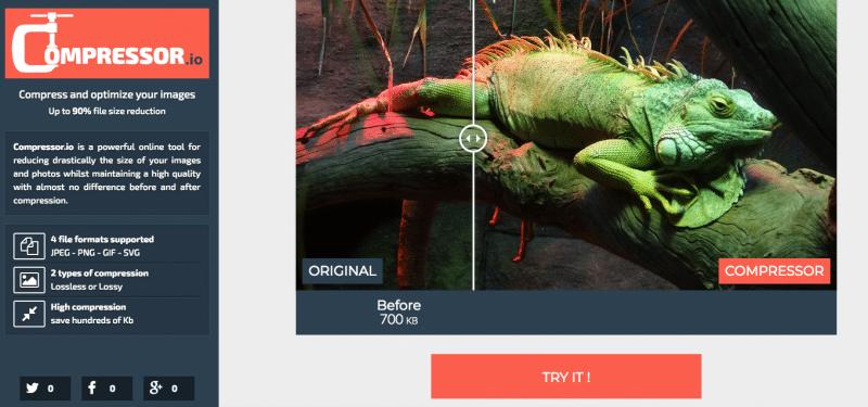 Compressor online image optimization tool