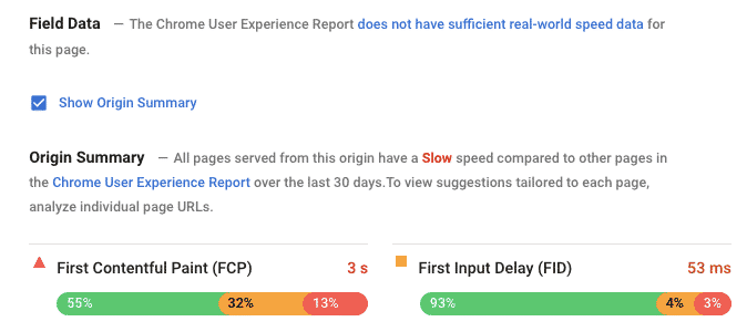 Field Data PageSpeed Insights