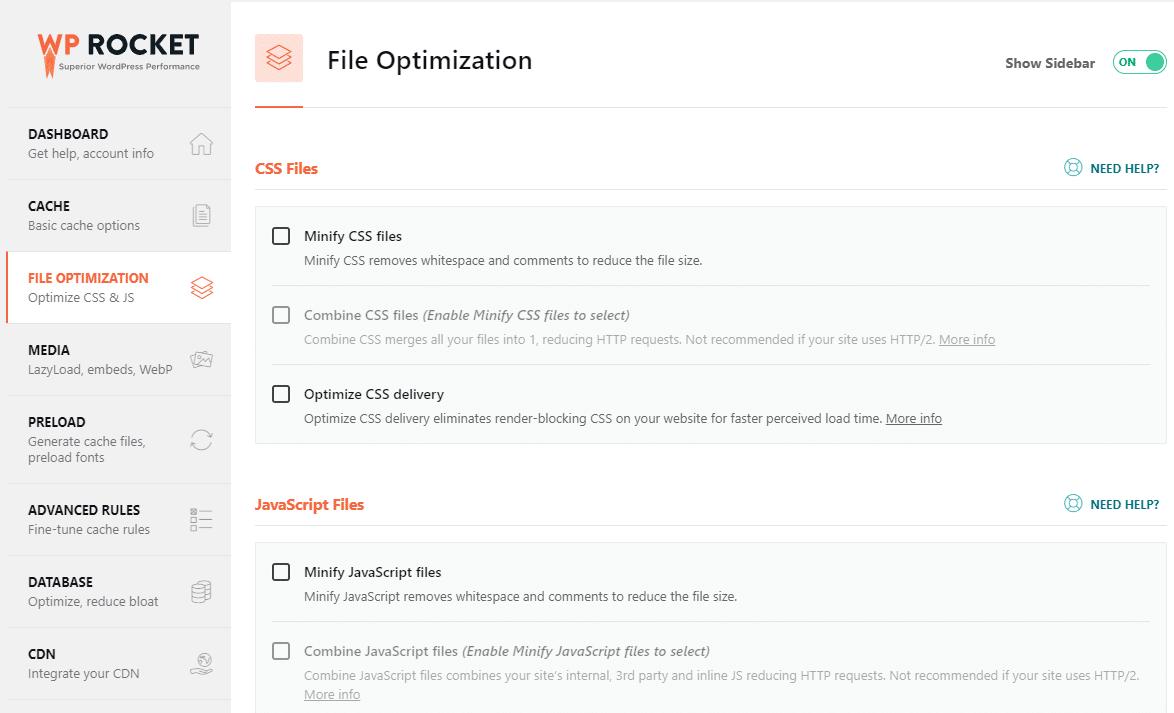 File optimization tab