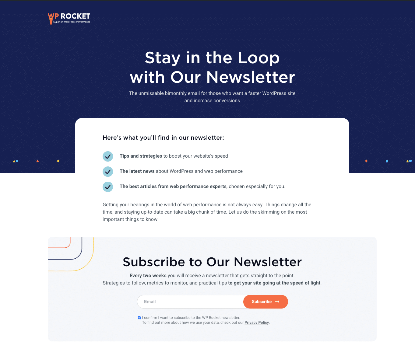 The newsletter landing page