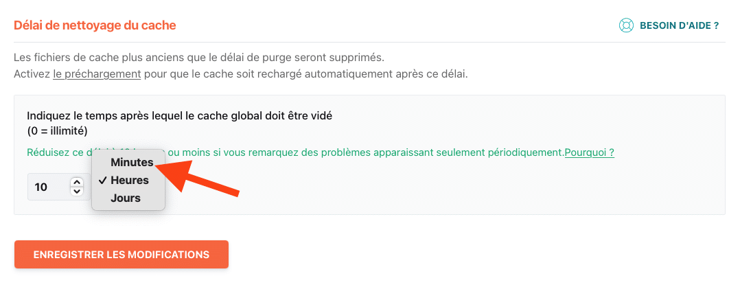 """L'option """"minutes"""" n'est plus disponible pour le délai de nettoyage du cache"""