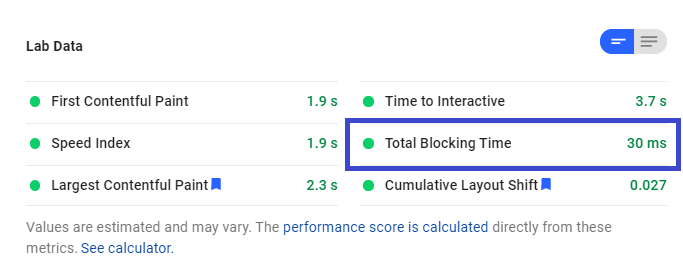 Total Blocking Time replaces First Input Delay in the Lab Data.