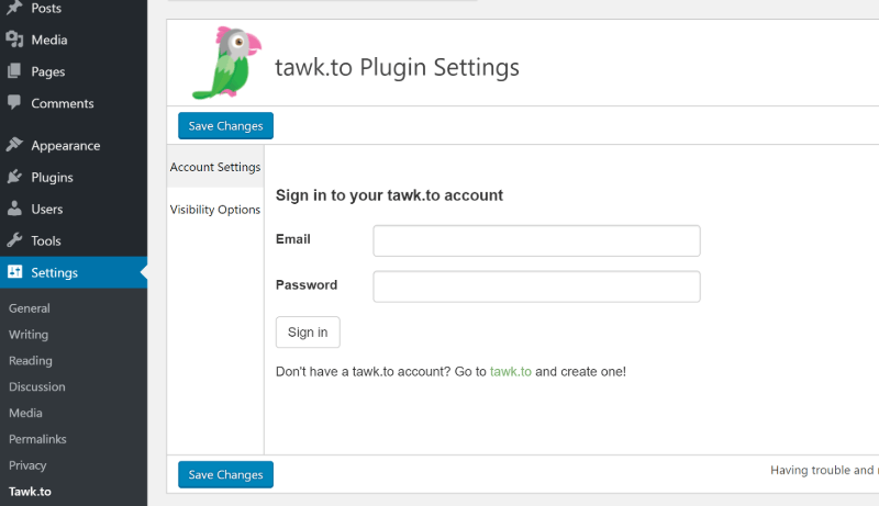 How to use Tawk.To plugin settings in WordPress