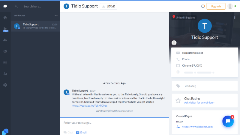Tidio Live Chat cloud dashboard