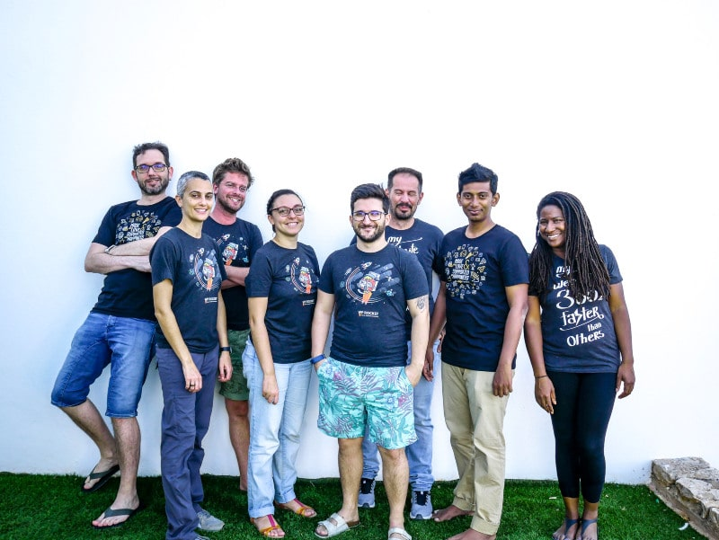 Group of people from WP Rocket Team during company retreat in Portugal