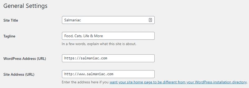 WordPress General Settings panel