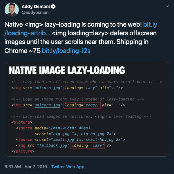 Addy Osmani announced Chrome's native lazy-loading in April 2019 on Twitter