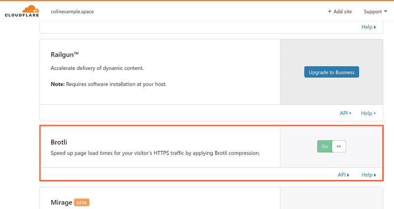Brotli Settings in Cloudflare's dashboard