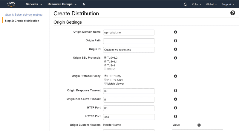 Cloudflare vs Cloudfront: Cloudfront settings