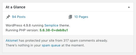 Display PHP Versions plugin