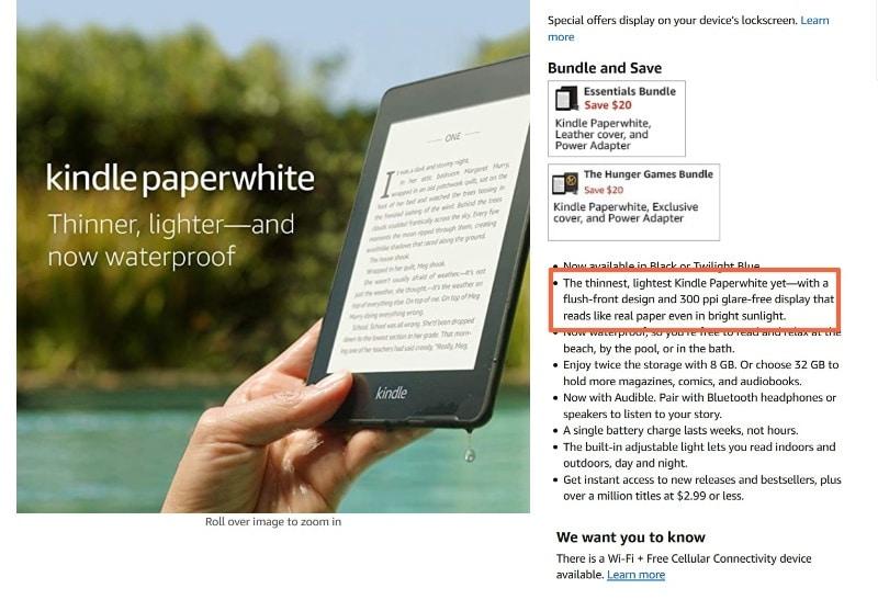 Amazon's product descriptions combine features and benefits