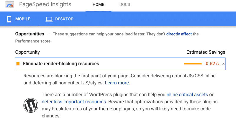 "The error ""eliminate render-blocking resources"" on PageSpeed Insights"