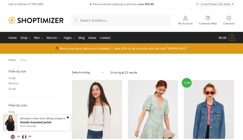 Shoptimizer is one of the fastes WooCommerce themes