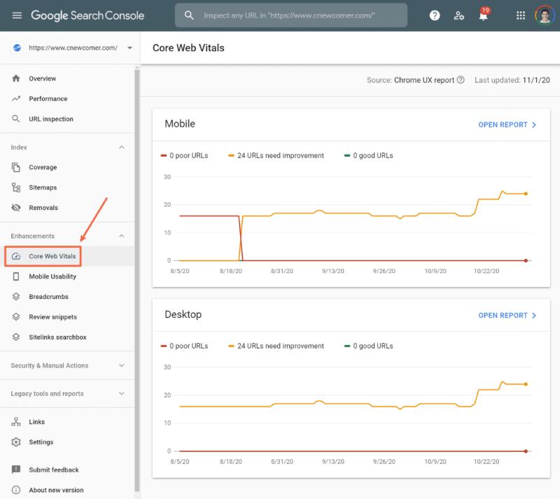 Core Web Vitals report - Google Search Console