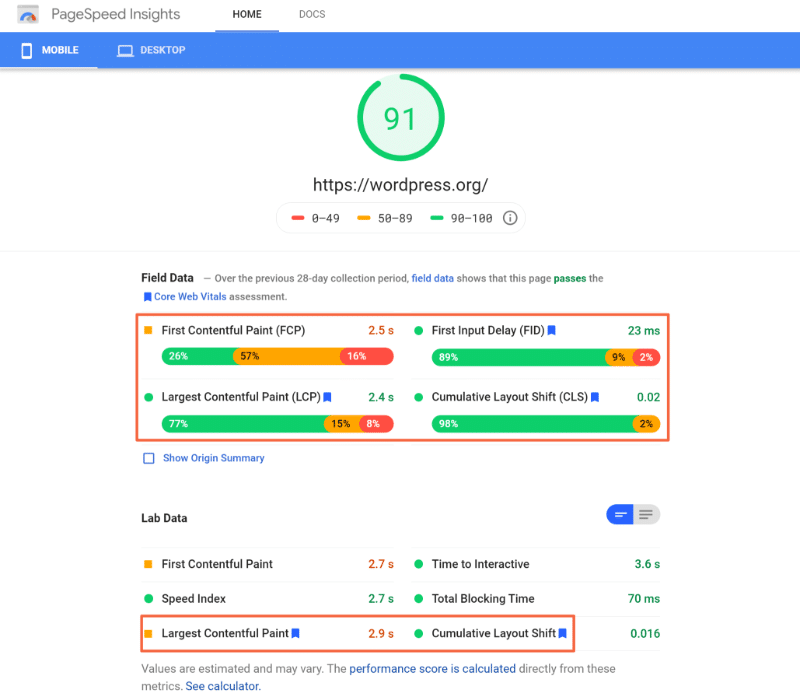 Core Web Vitals Metrics results - Google PageSpeed Insights