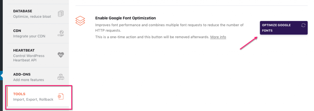 Google Fonts Optimization from the Tools section