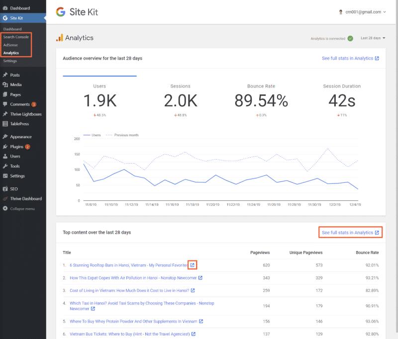 Google Site Kit : ouvrir un rapport spécifique