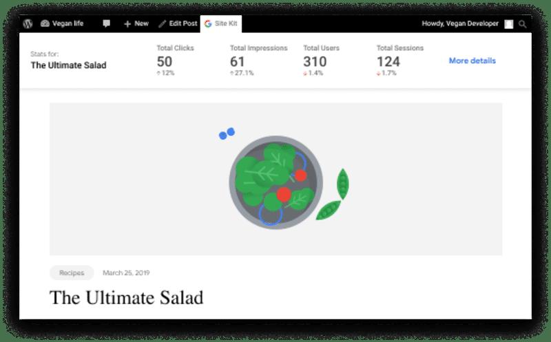 Google Site Kit plugin - stats from the WordPress toolbar