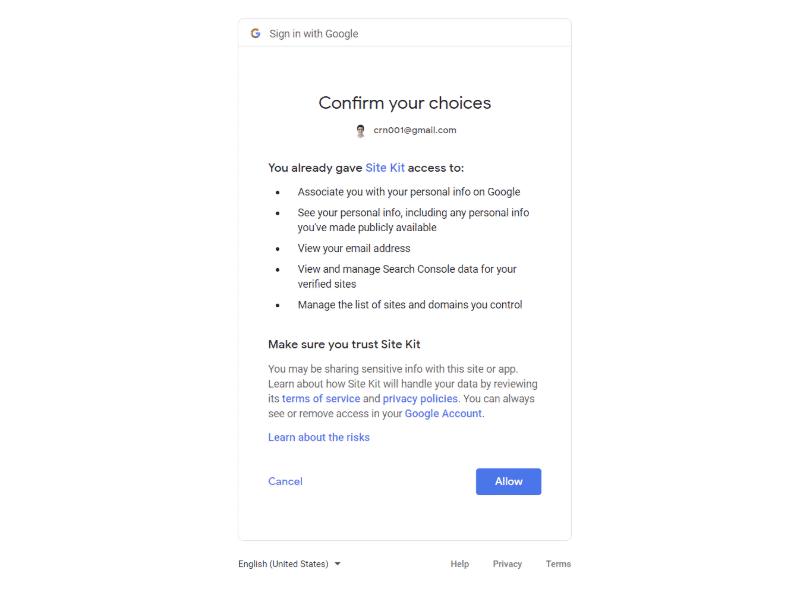 Google Site Kit plugin setup - step 2