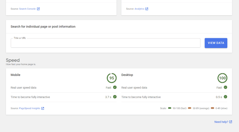 Google Site Kit : données de performance de PageSpeed Insights