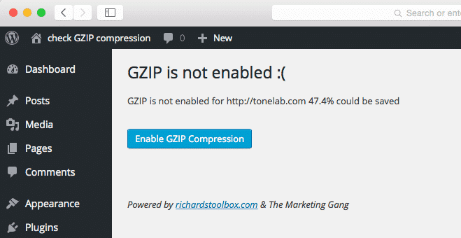 check gzip compression plugin