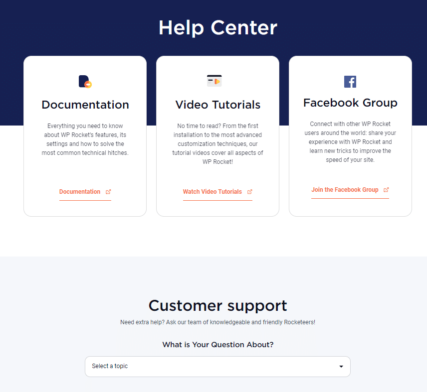 The New Help Center page