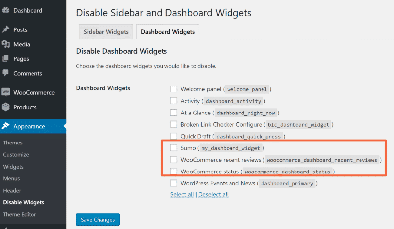 how to fix a slow wordpress admin free widget disable plugin