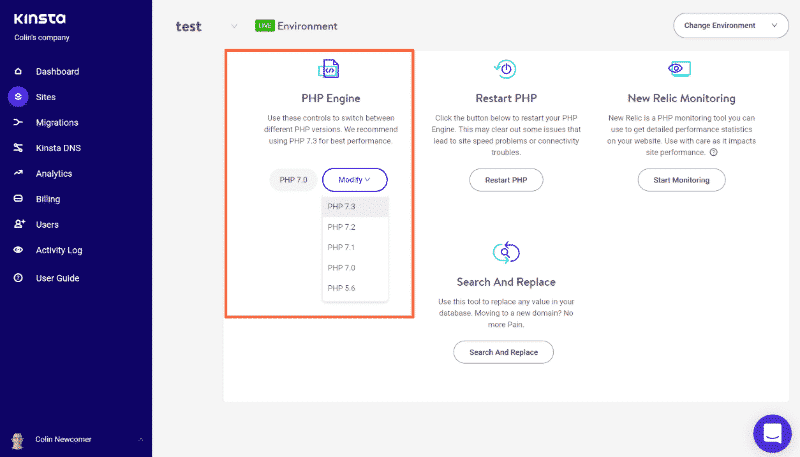 how to fix a slow wordpress admin upgrade php - kinsta dashboard