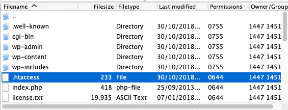 htaccess file in root directory