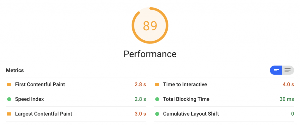 Lighthouse new performance metrics