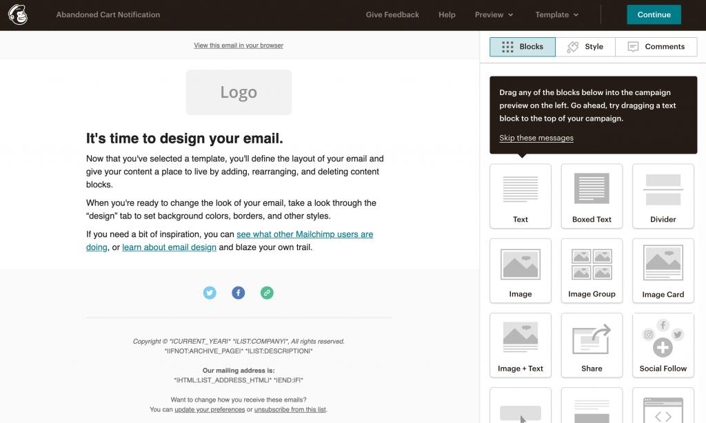 Mailchimp email builder