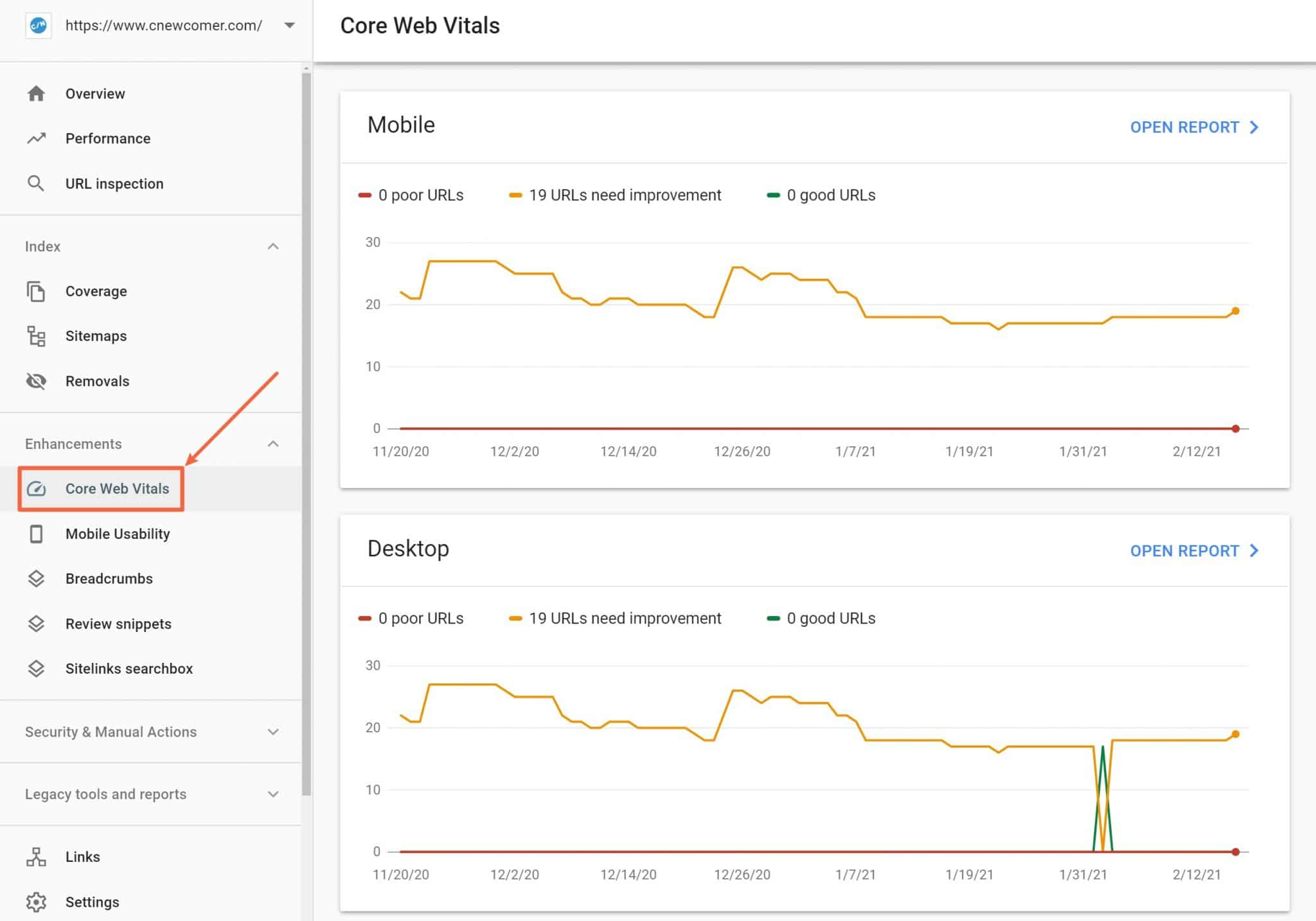 Core Web Vitals report in Search Console