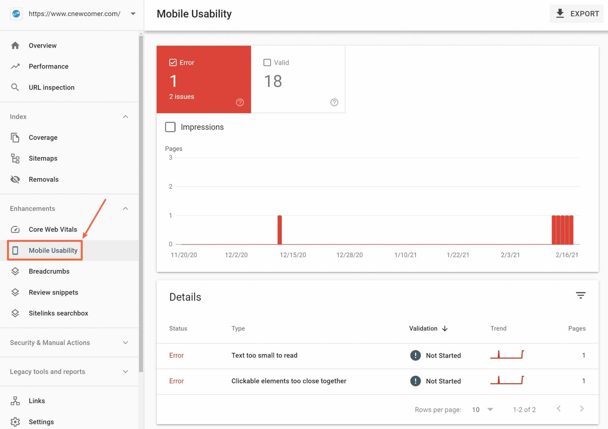 Mobile-friendliness report in Search Console
