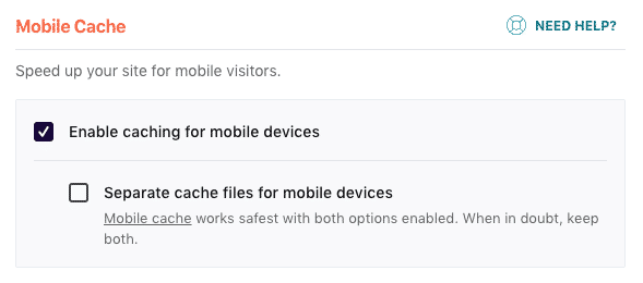 Cache for mobile pages in WP Rocket