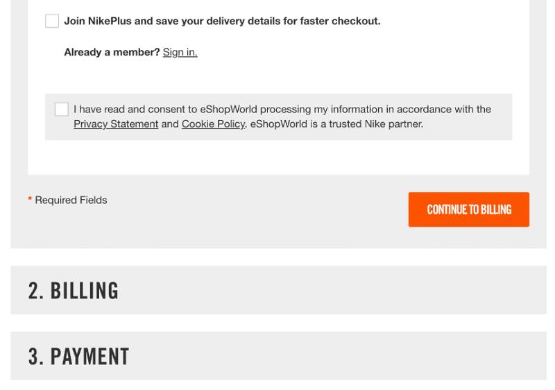 Nike - Checkout page