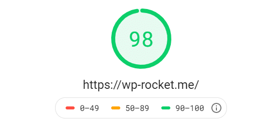 Google PageSpeed Insights score — WP Rocket homepage
