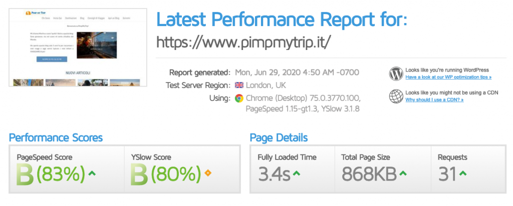 The speed results of PimpMyTrip without cache