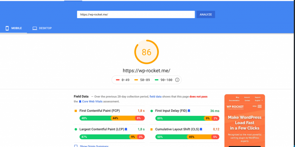 PageSpeed score for WP Rocket's mobile site after delaying JS execution time