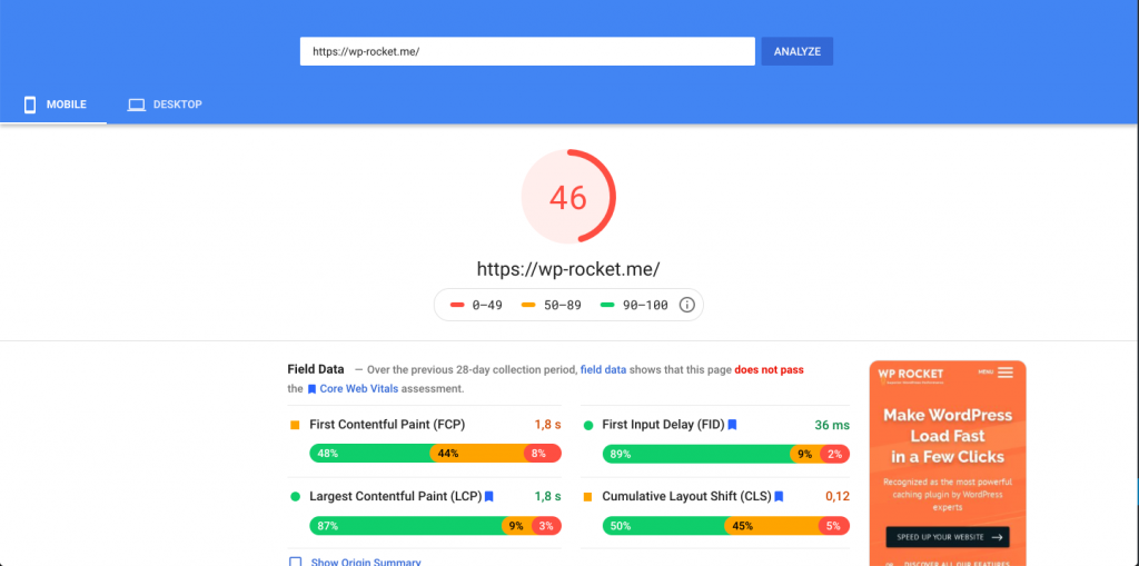 PageSpeed score for WP Rocket's mobile site before delaying JS execution