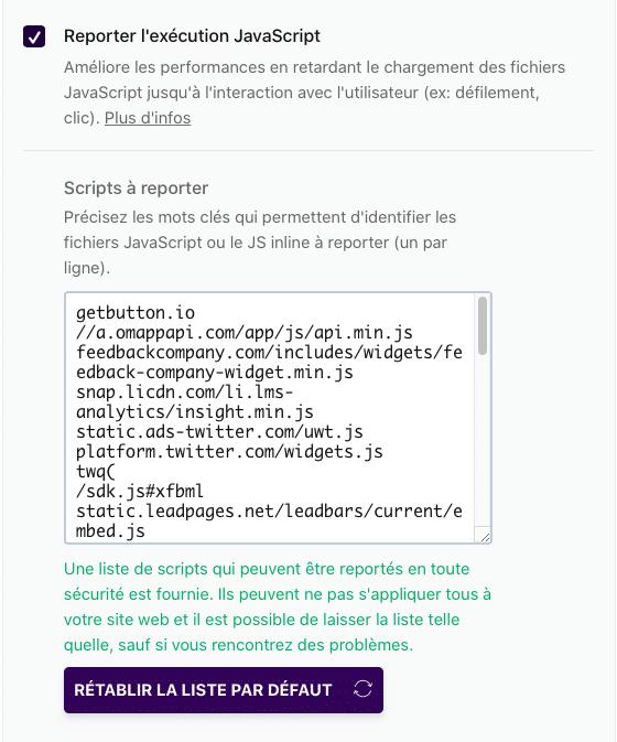 Liste des scripts JS à reporter