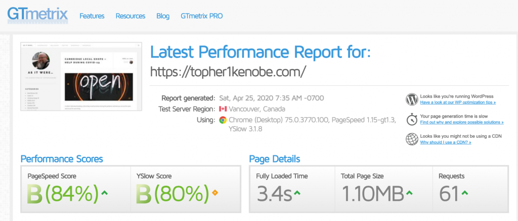 Topher personal website: GTMetrix results with the host's built-in caching