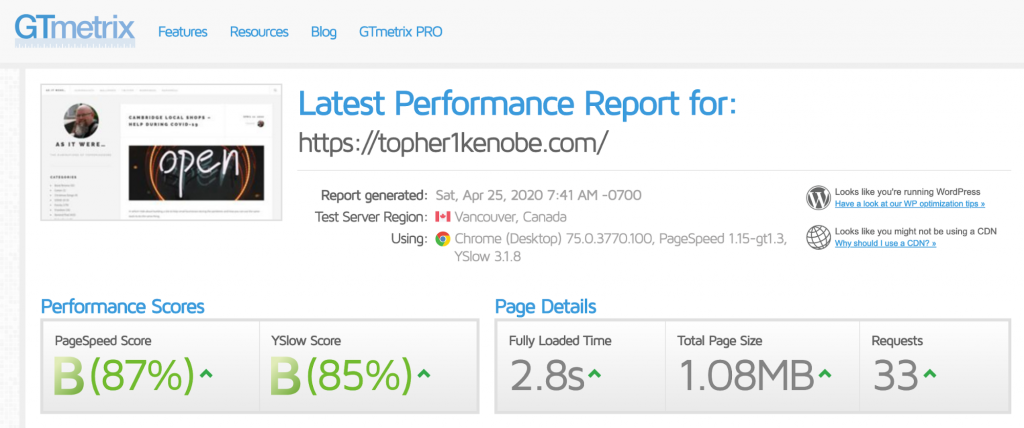 Topher personal website: GTMetrix results with WP Rocket only