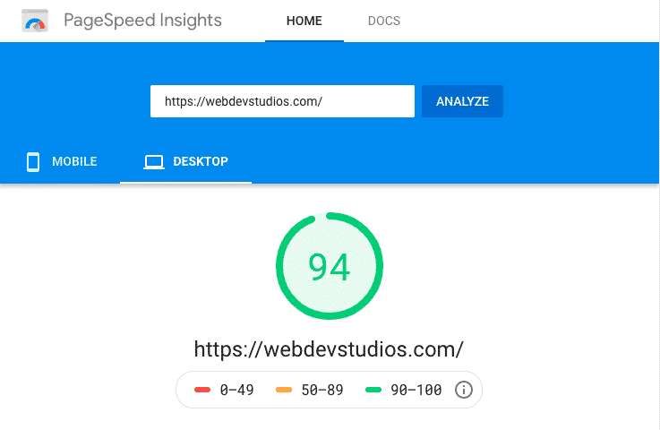 PageSpeed Insights for WebDevStudio after WP Rocket