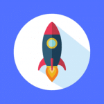 Rocket on Blue Background - Yslow