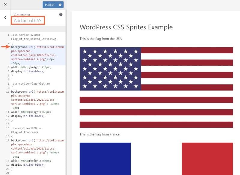 Adding the CSS code through the WordPress Customizer